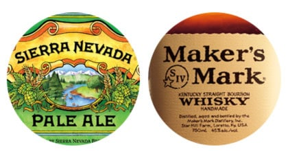 Sierra Nevada and Makers Mark labels